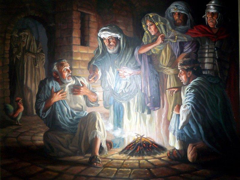 Peter denies Jesus. Image Source