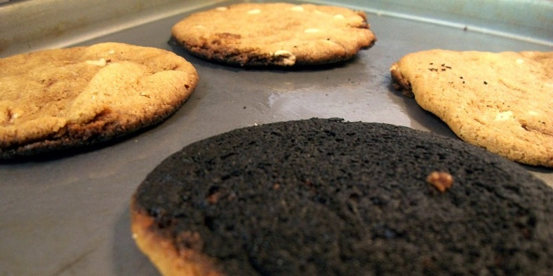 My wife's cookies were MUCH LESS burnt, but it shows how looks can be deceiving. She could have easily brought her slightly burnt cookies. No one would have known until the customer would taken one out to eat. Image source