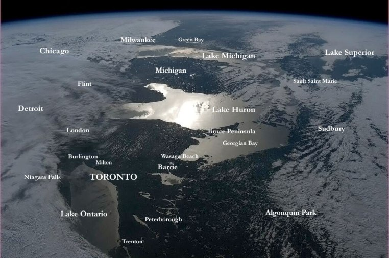 Picture taken by Canadian Chris Hadfield from the International Space Station. Our little church is in the Barrie/Wasaga Beach area found near the centre of the picture. Image Source