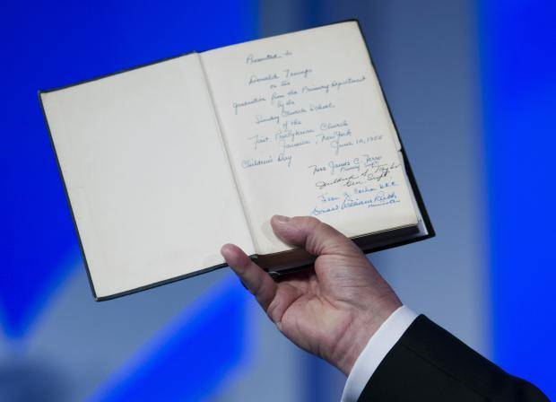 Bible given to Donald trump by his mother Image Source